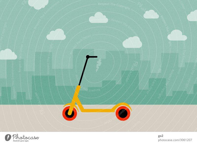 E-Scooter Stadt Haus Wolken Freude Straße Wege & Pfade Sport Bewegung Freiheit Freizeit & Hobby Verkehr Hochhaus Schönes Wetter Wandel & Veränderung