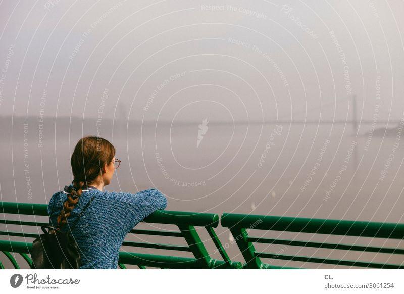 nebulös   hudson river Frau Mensch Himmel Ferien & Urlaub & Reisen Jugendliche Junge Frau Wasser Erholung ruhig Ferne Erwachsene Leben feminin Tourismus Ausflug
