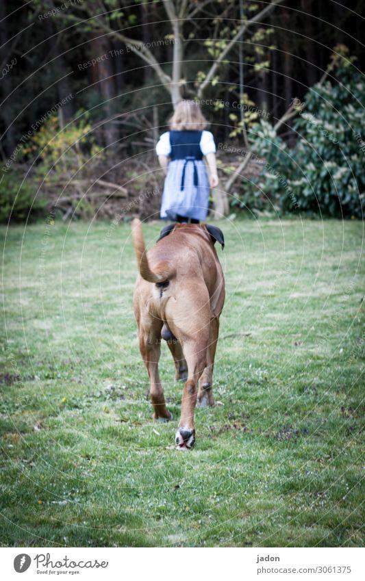 follower of fashion. Mensch feminin 1 3-8 Jahre Kind Kindheit Umwelt Baum Gras Garten Wiese Wald Tier Haustier Hund Jagd laufen rennen Wege & Pfade verfolgen