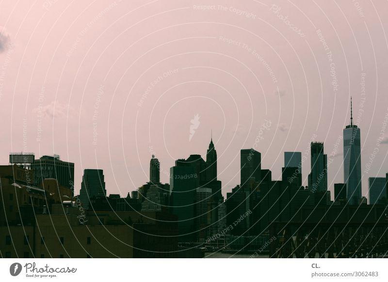 manhattan Ferien & Urlaub & Reisen Tourismus Sightseeing Städtereise Himmel Schönes Wetter New York City Manhattan Stadt Skyline Menschenleer Hochhaus Bauwerk