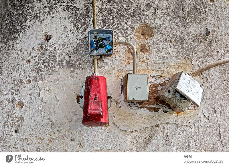 Elektrik anno dazumal alt blau rot Hintergrundbild Wand Mauer grau retro Energiewirtschaft Technik & Technologie Abenteuer Zukunft Vergänglichkeit kaputt