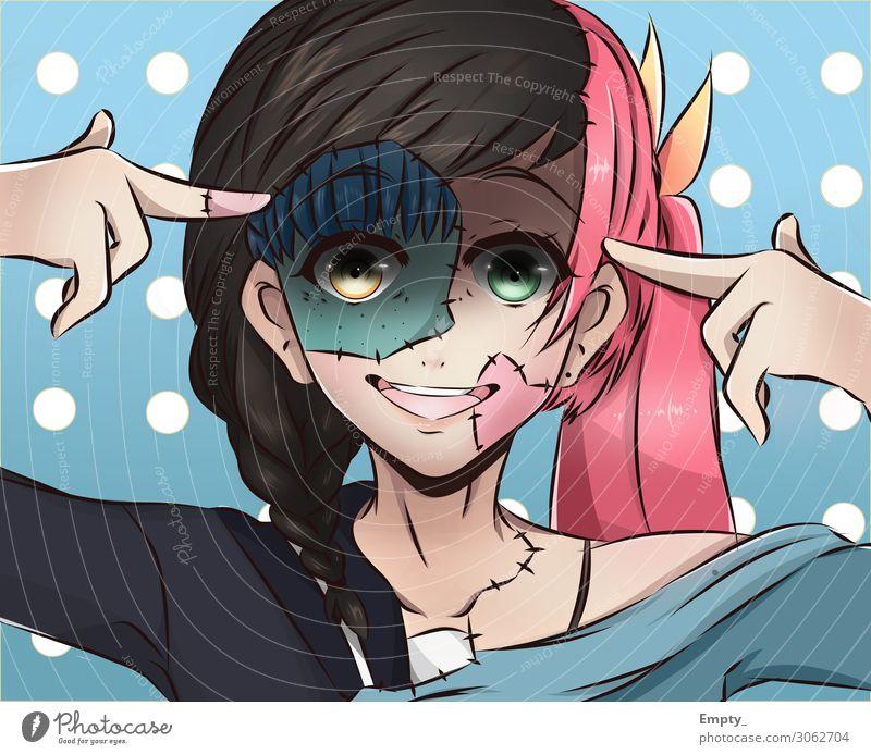 Zusammengeflickte Schönheit feminin Junge Frau Jugendliche Kopf Haare & Frisuren Gesicht 1 Mensch 3 13-18 Jahre brünett rothaarig Scheitel Pony Punk frech