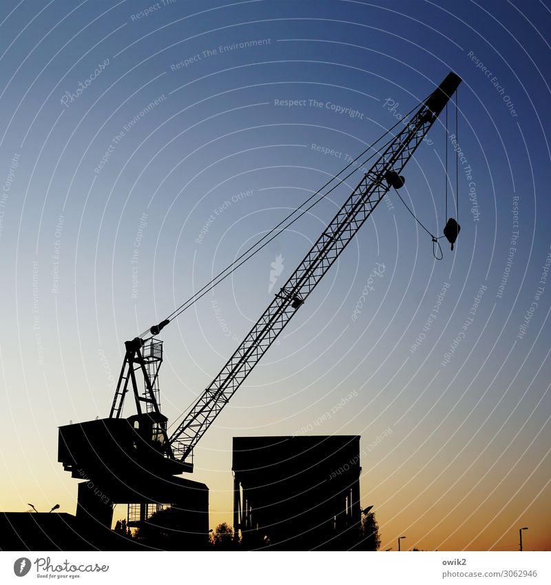 Streber Arbeitsplatz Kran Industrie Handel Güterverkehr & Logistik Dienstleistungsgewerbe Wolkenloser Himmel Stadtrand Stahlkabel Gestell Metall dunkel Erfolg