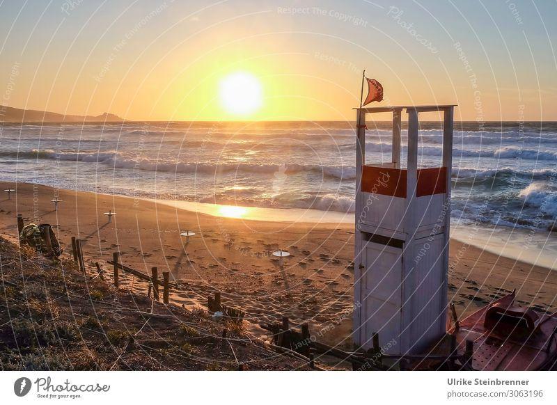 Abend am Strand Ferien & Urlaub & Reisen Tourismus Sommerurlaub Meer Wellen Natur Landschaft Küste Insel Sardinien Bewegung natürlich Wärme Gefühle Stimmung
