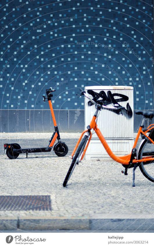 elektrosmog Stadt Stadtzentrum Verkehr Verkehrswege Personenverkehr Berufsverkehr Straßenverkehr Fahrradfahren Wege & Pfade Fahrzeug Kleinmotorrad stehen