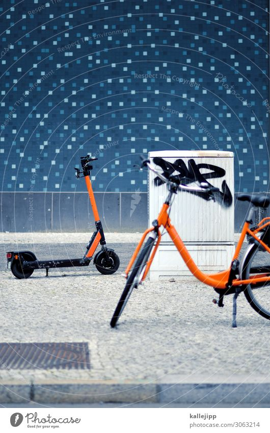 elektrosmog Stadt Straße Wege & Pfade Verkehr Fahrrad stehen Fahrradfahren Güterverkehr & Logistik Bürgersteig Stadtzentrum Verkehrswege Mobilität Umweltschutz
