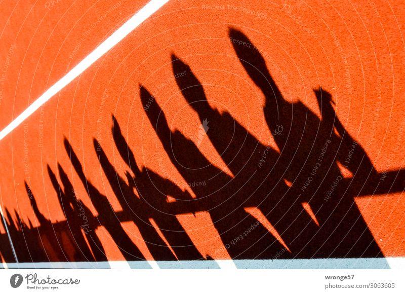 Randerscheinung Sport Publikum Fan Tribüne Sportstätten Sportplatz Mensch Menschengruppe Menschenmenge beobachten Blick stehen orange schwarz weiß Laufbahn