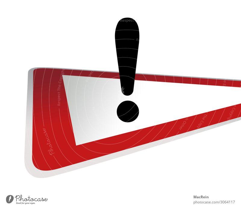 Verkehrsschild Achtung Straßenverkehr Verkehrszeichen Zeichen rot Wachsamkeit Ordnung Verbote Ausrufezeichen Dreieck langsam Vorsicht Hinweisschild