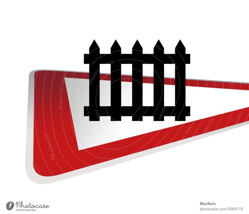 Achtung Bahnübergang Verkehr Straßenverkehr Schienenverkehr Bahnfahren Schranke Verkehrszeichen rot Wachsamkeit Sicherheit Dreieck langsam Symbole & Metaphern