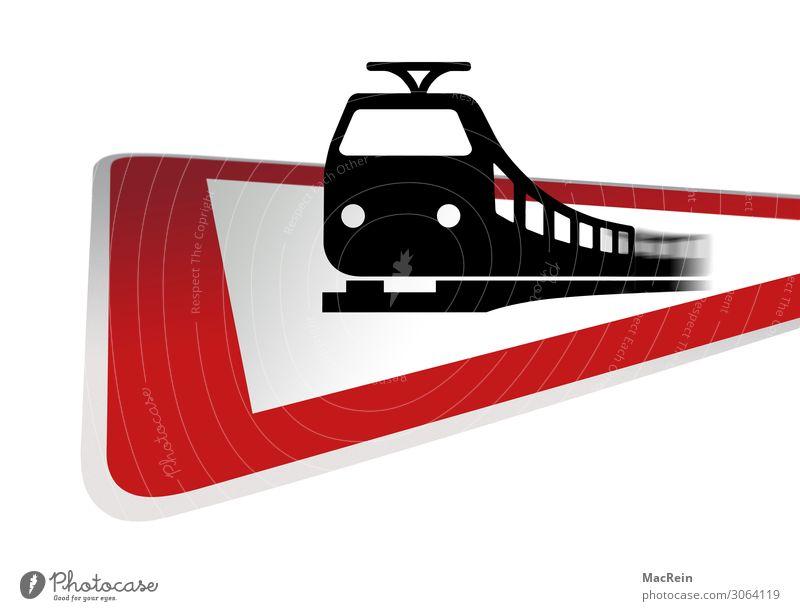 Vorsicht Bahnübergang Verkehr Verkehrsmittel Güterverkehr & Logistik Bahnfahren Verkehrszeichen Verkehrsschild Zeichen Sicherheit Hinweisschild Piktogramm