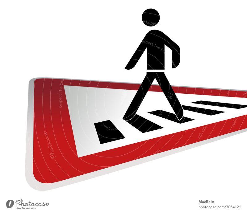 Achtung Fussgänger Verkehrswege Personenverkehr Fußgänger Straße Straßenkreuzung Wege & Pfade Verkehrszeichen Verkehrsschild Zeichen gehen laufen rot Sicherheit