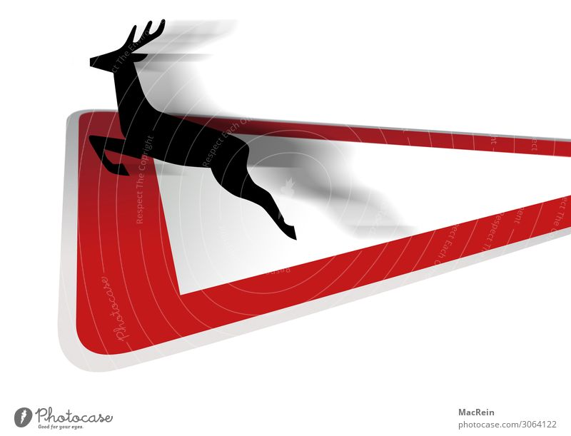 Verkehrsschild Wildwechsel Straßenverkehr Straßenkreuzung Verkehrszeichen Wildtier Reh Zeichen springen rot Sicherheit Symbole & Metaphern Hinweisschild