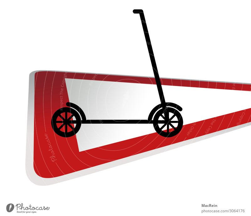 Verkehrsschild mit E-Roller rot Hinweisschild Sicherheit Symbole & Metaphern Kleinmotorrad Verkehrsmittel Verkehrszeichen