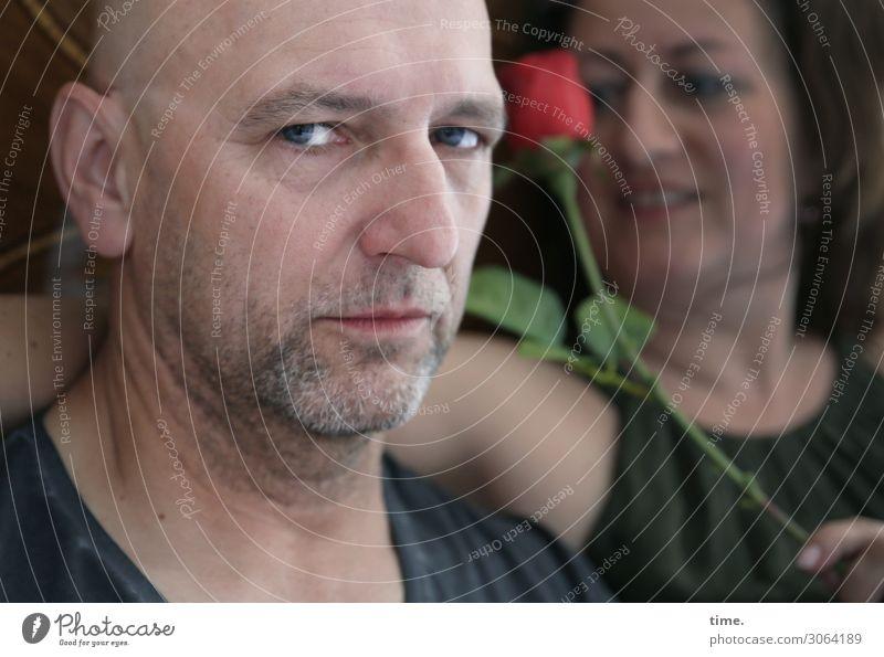 AST 9   atmosphärisch divergent maskulin feminin Frau Erwachsene Mann 2 Mensch Schauspieler Rose T-Shirt brünett langhaarig Glatze Dreitagebart beobachten Blick