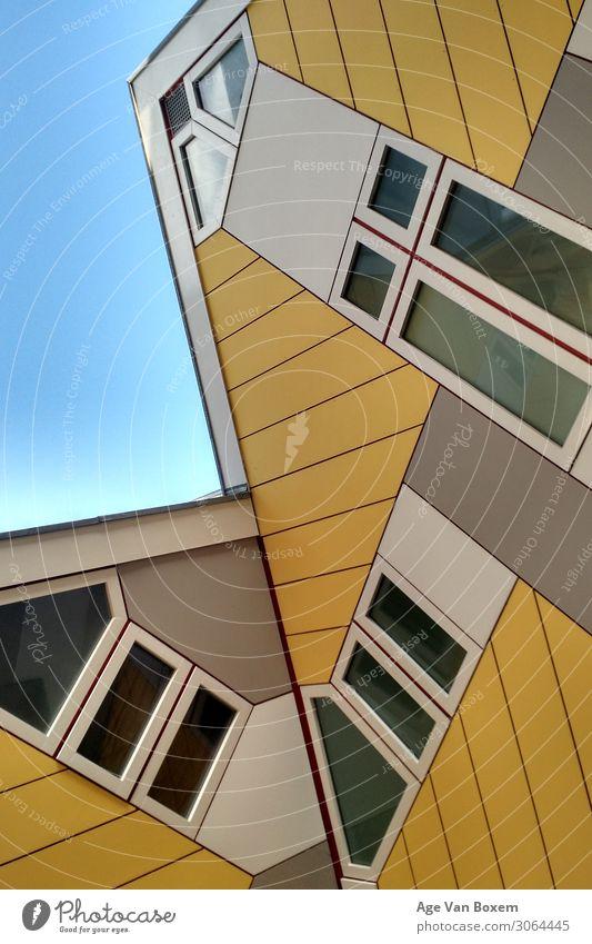 Gelbe Häuser Architektur Rotterdam Stadt Stadtzentrum Haus Sehenswürdigkeit gelb ästhetisch Inspiration ruhig Farbfoto Außenaufnahme Nahaufnahme Detailaufnahme