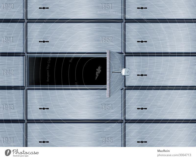 Schließfach Metall Schriftzeichen offen Geld Ziffern & Zahlen geheimnisvoll Geldinstitut Reichtum Kapitalwirtschaft Kennwort Wert Tresor Privatsphäre