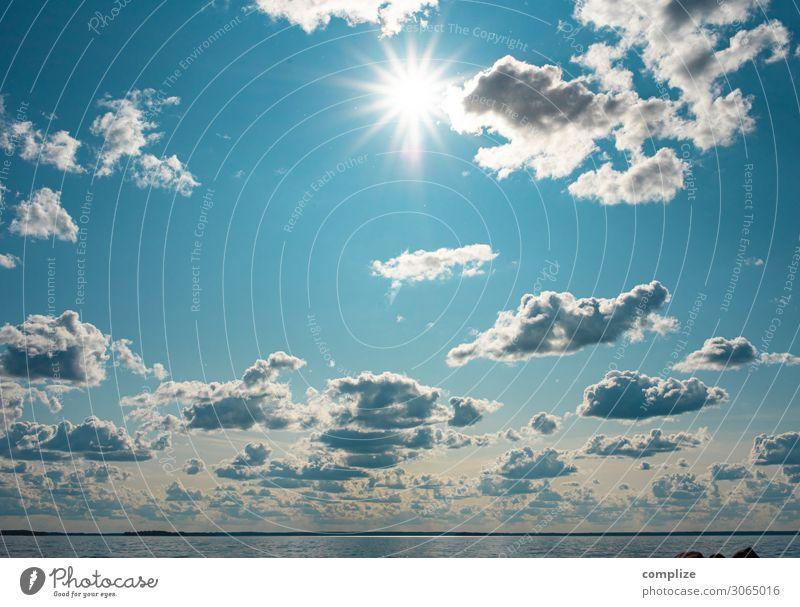 Sonne & See Ferien & Urlaub & Reisen Sommer Meer Wolken ruhig Reisefotografie Strand Gesundheit Hintergrundbild Freiheit Schwimmen & Baden Horizont Idylle Insel