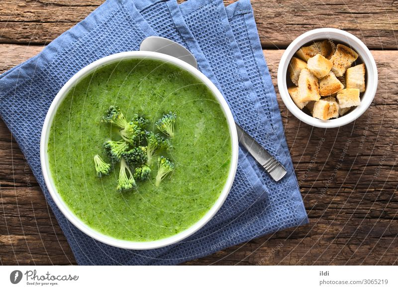 Frische Brokkoli-Suppe mit Sahne Gemüse Eintopf Vegetarische Ernährung frisch natürlich grün Lebensmittel kreuzbefleckt gemischt gebastelt Amuse-Gueule Mahlzeit