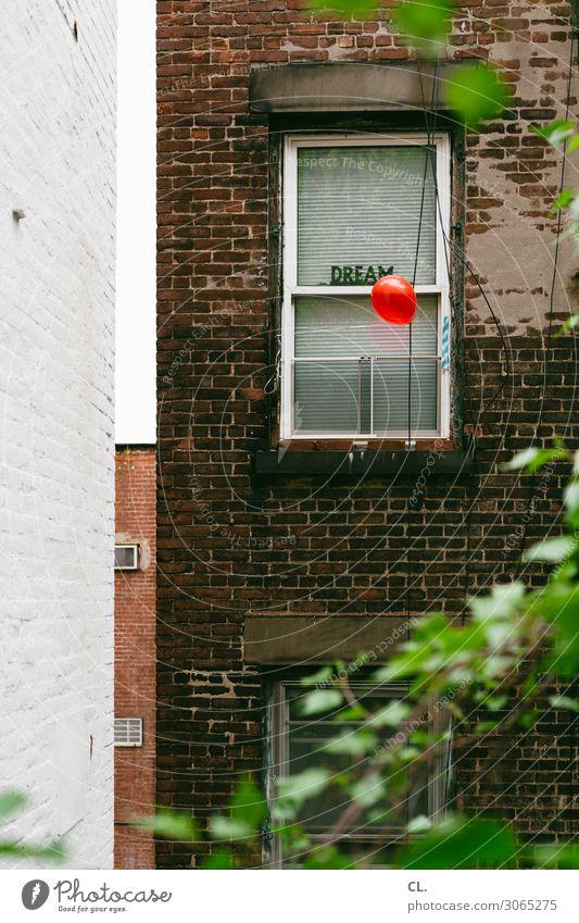 dream New York City USA Haus Mauer Wand Fenster Dekoration & Verzierung Luftballon Zeichen Schriftzeichen außergewöhnlich rot Gefühle Lebensfreude Optimismus