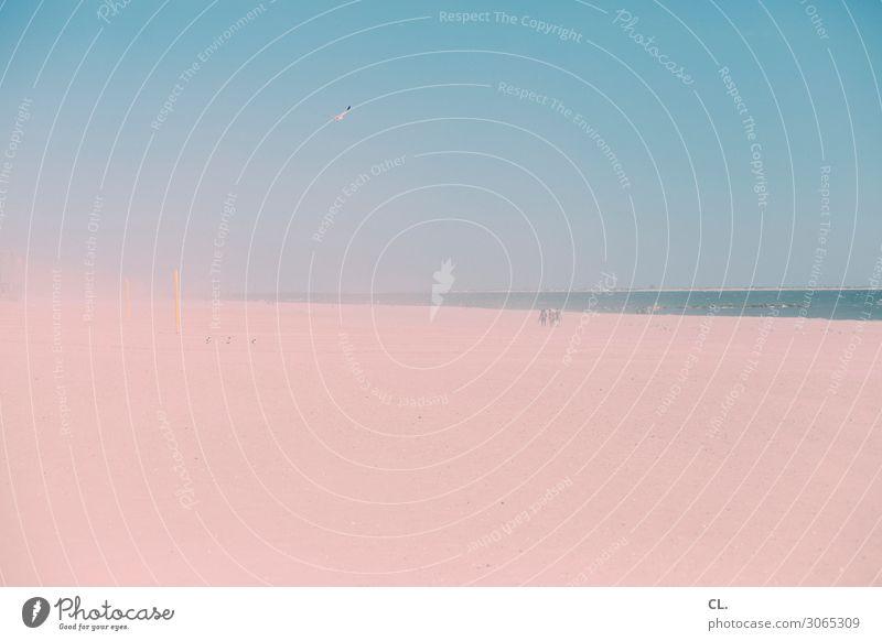 sand Mensch Himmel Ferien & Urlaub & Reisen Natur blau Wasser Landschaft Meer ruhig Ferne Strand Umwelt Küste Tourismus außergewöhnlich Freiheit