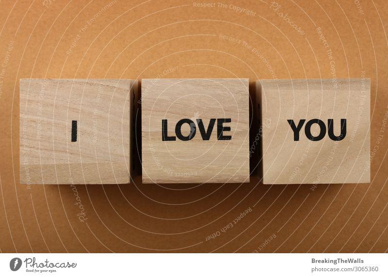 Holzwürfel mit I LOVE YOU Worten über Rot Design Valentinstag Papier Zeichen Schriftzeichen Schilder & Markierungen Liebe Zusammensein oben braun Romantik Klotz