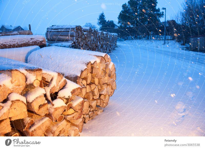 Firewood near a road illuminated Natur blau weiß Landschaft Baum Winter Berge u. Gebirge Holz Umwelt kalt Beleuchtung natürlich Schnee orange Schneefall Eis
