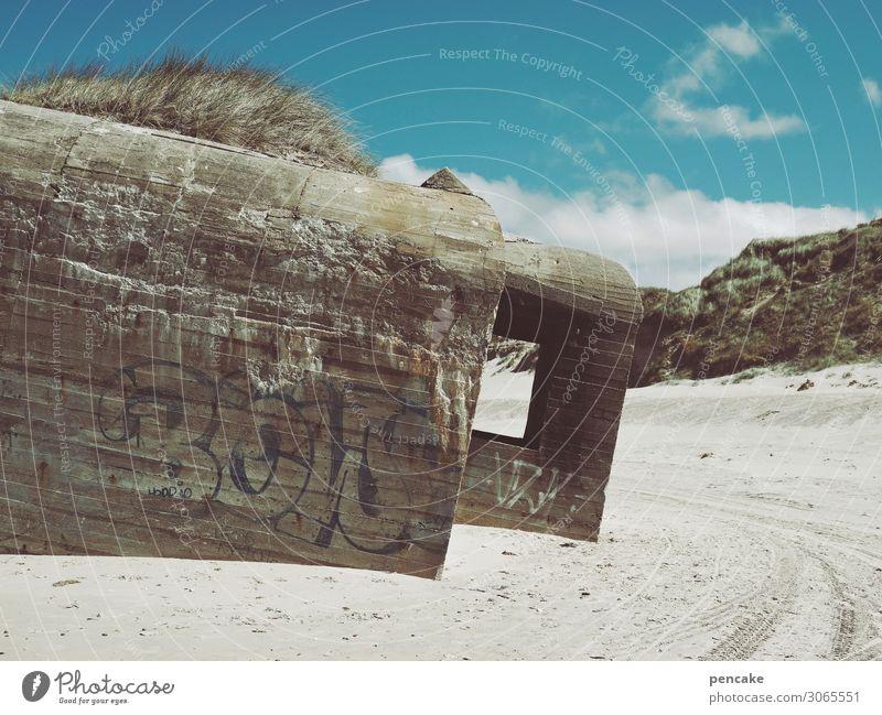 manche sagen es seien bunker Natur Sand Küste Nordsee alt authentisch bedrohlich Bekanntheit Feindseligkeit 2. Weltkrieg Dänemark Bunker Strand Denkmal Farbfoto