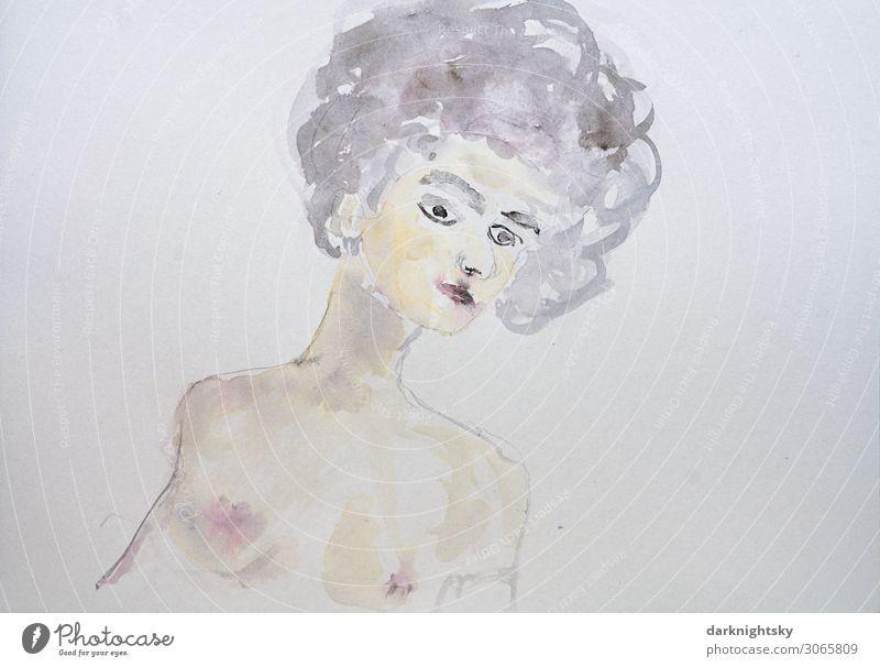 Weiblicher Teilakt in Aquarell Farben elegant schön Freizeit & Hobby Mensch feminin Junge Frau Jugendliche Erwachsene Körper Haut Kopf Haare & Frisuren Gesicht