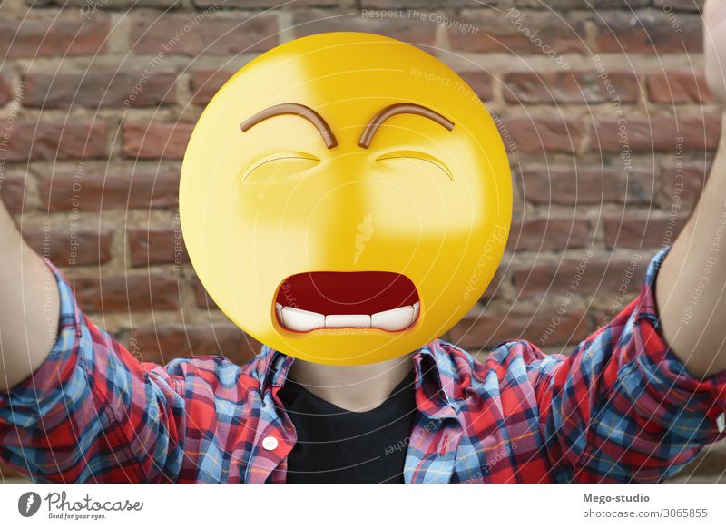 Trauriger Emoji-Chefmann. Lifestyle Glück Gesicht Business Telefon PDA Technik & Technologie Internet Junge Mann Erwachsene Lächeln sitzen stehen Traurigkeit