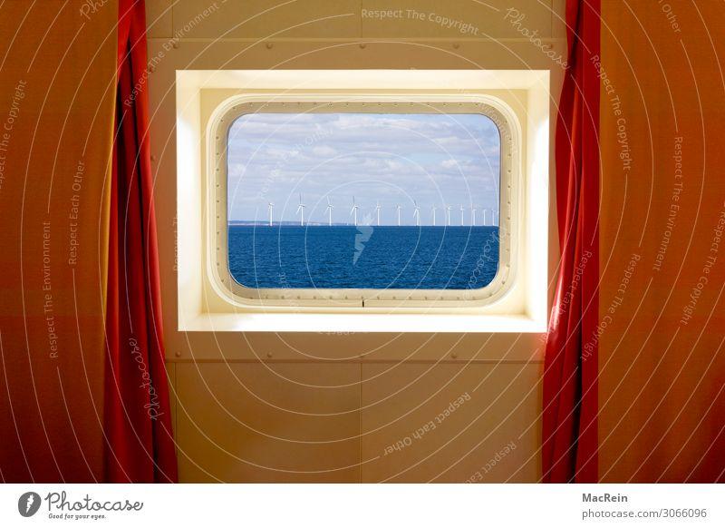 Meerblickkabine Kreuzfahrt Wasser Nordsee Ostsee Passagierschiff Wasserfahrzeug Bullauge An Bord Reichtum Ferien & Urlaub & Reisen ruhig Flugzeugfenster Vorhang