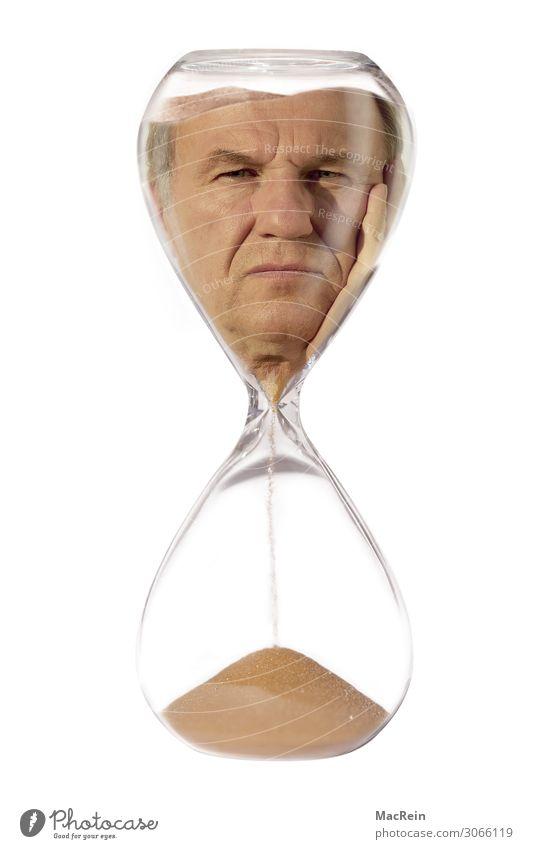 Lebenszeit Mensch Kopf 1 45-60 Jahre Erwachsene Endzeitstimmung Sanduhr Glas Porträt Mann maskulin Gelassenheit zerrinnen Uhr warten Ablaufplan zuletzt