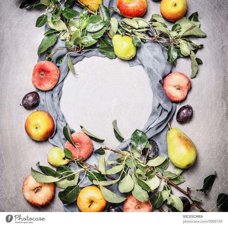 Saisonales Obst aus dem Garten Lebensmittel Frucht Apfel Ernährung Stil Design Gesunde Ernährung Natur Hintergrundbild Bioprodukte Pfirsich Birne Pflaume Ast