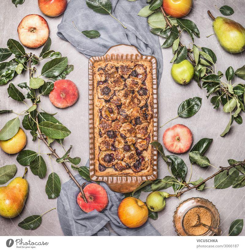 Saisonales Backen mit Obst von Garten Lebensmittel Frucht Kuchen Ernährung Stil Design backen vom Garten Birne Apfel Pfirsich Foodfotografie Bioprodukte Essen