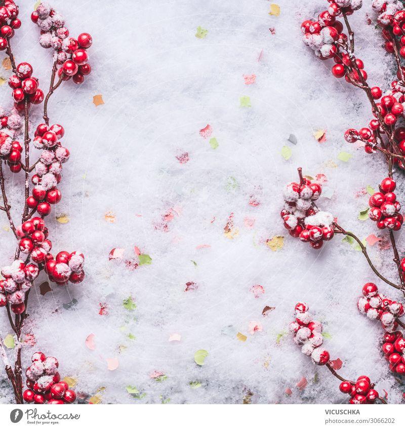 Rote gefrorene Beeren auf Schnee. Hintergrund Rahmen Stil Design Winter Feste & Feiern Weihnachten & Advent Natur Dekoration & Verzierung Hintergrundbild Frost