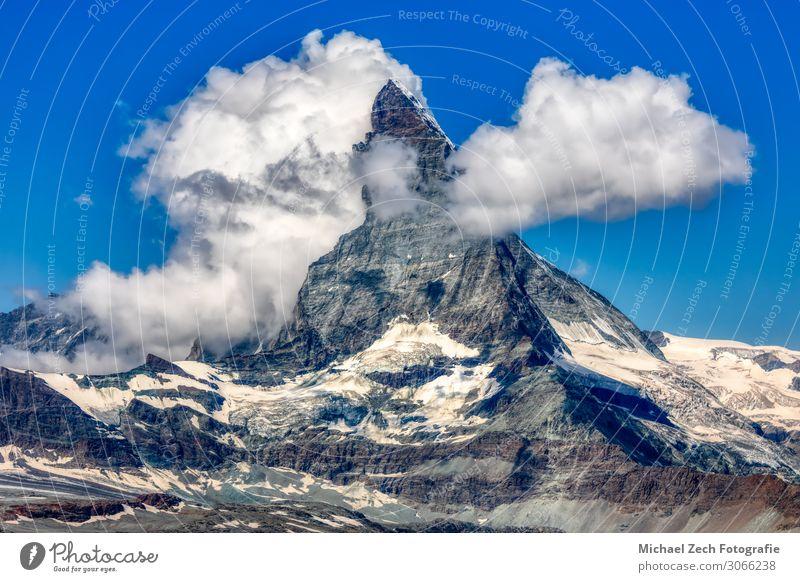 HDR-Panorama des berühmten Materhorns bei Zermatt schön Ferien & Urlaub & Reisen Tourismus Ausflug Sonne Schnee Berge u. Gebirge wandern Klettern Bergsteigen