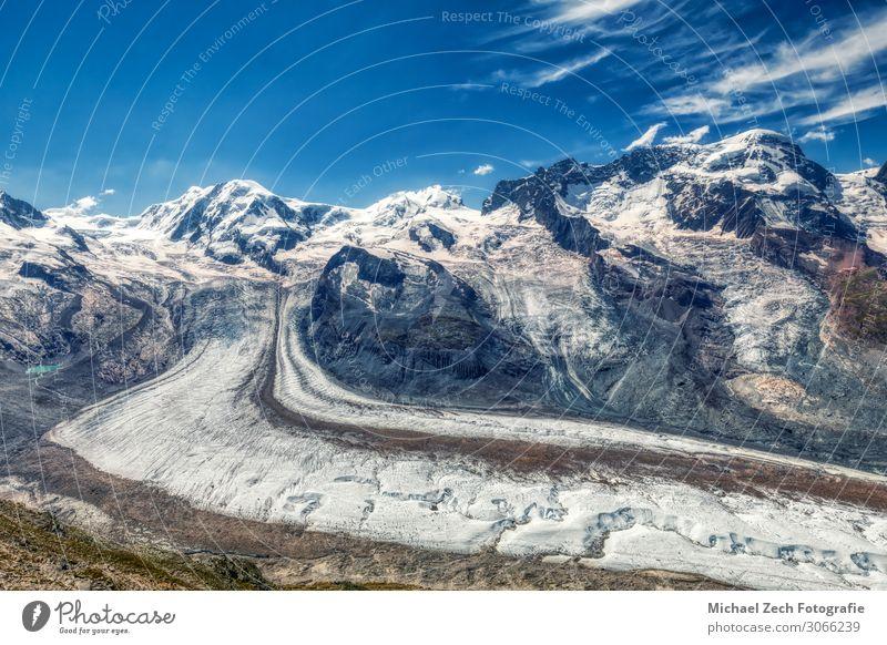HDR-Panorama des berühmten Gornergletschers bei Zermatt Lifestyle Ferien & Urlaub & Reisen Tourismus Abenteuer Sommer Schnee Berge u. Gebirge wandern Sport