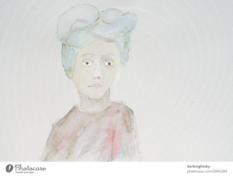 Portrait Gemälde Frau Mensch Jugendliche Junge Frau schön grün rot Gesicht Lifestyle Erwachsene feminin Glück Stil Kunst Kopf Freizeit & Hobby