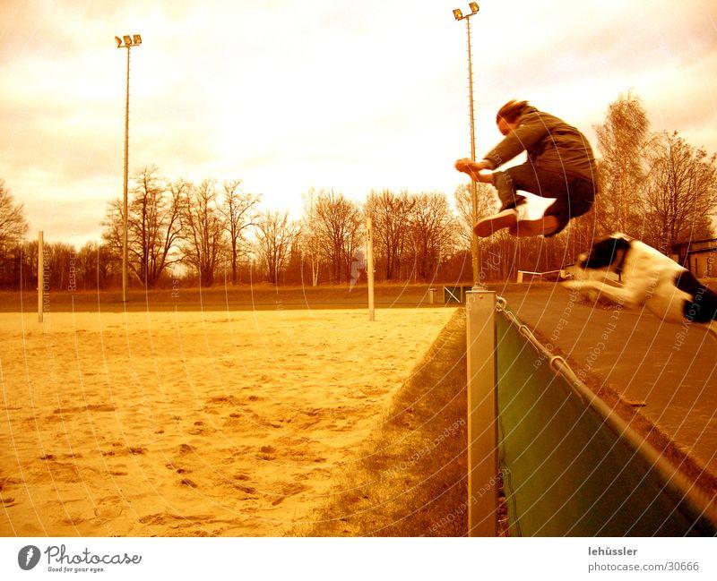 hund mensch sprung 2 Mensch springen Hund Sand Zaun Sportplatz