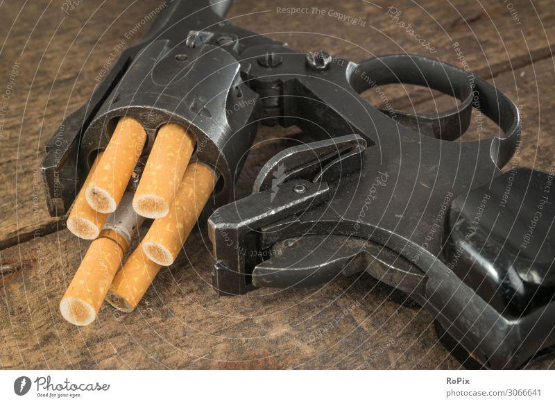 SMOKING KILLS Lifestyle Gesundheit Gesundheitswesen Krankheit Rauchen Bildung Pistole Waffe Schußwaffen Technik & Technologie Industrie Umwelt Natur Holz Stahl