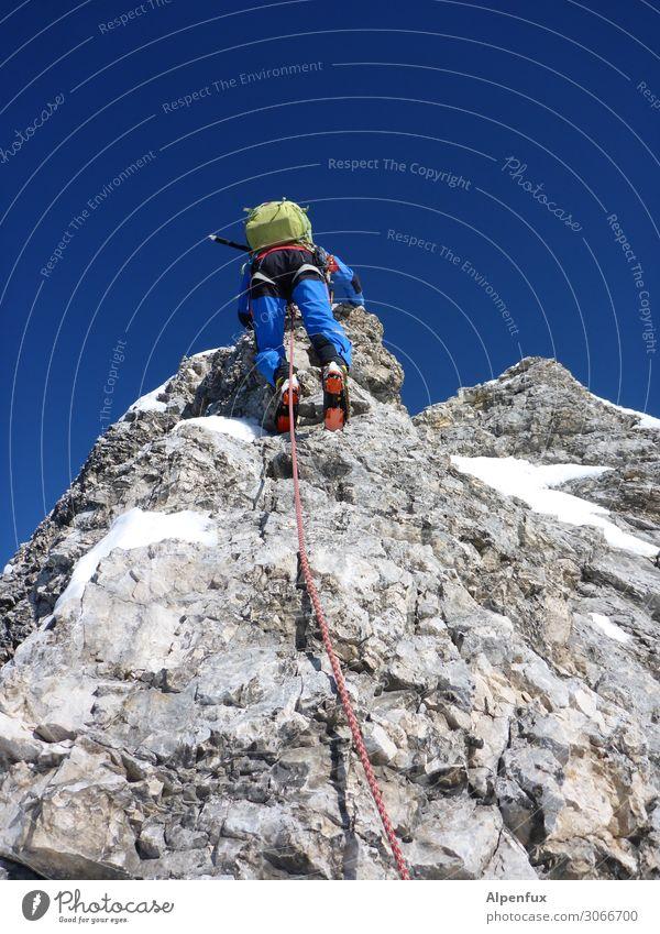 Gratwanderung Felsen Alpen Berge u. Gebirge Zugspitze Jubiläumsgrat Gipfel Gletscher Freude Glück Zufriedenheit Lebensfreude Vorfreude Begeisterung Ehre