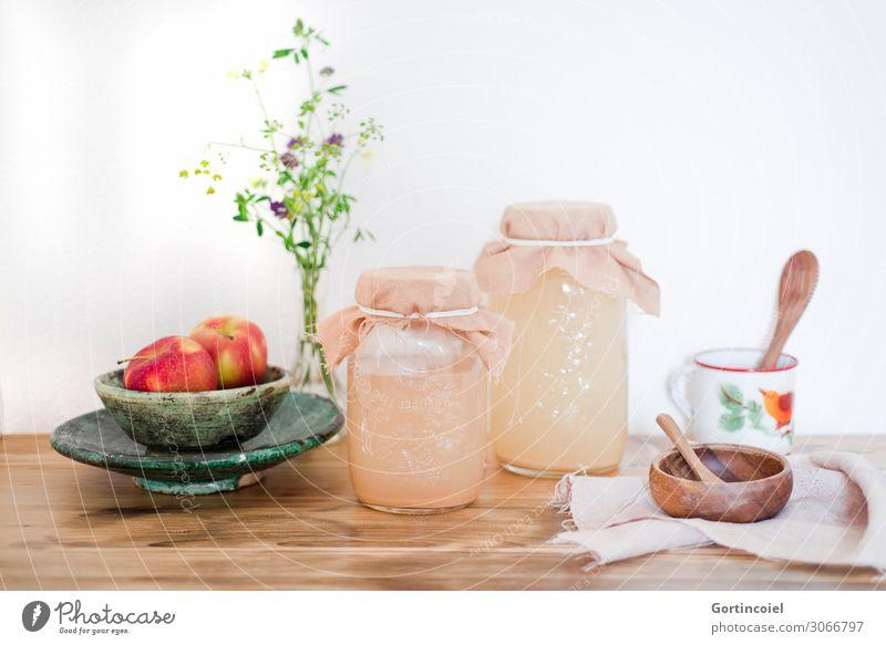 Apfelessig Lebensmittel natürlich Frucht Ernährung Glas Getränk Bioprodukte Vegetarische Ernährung Schalen & Schüsseln nachhaltig Flasche Löffel selbstgemacht