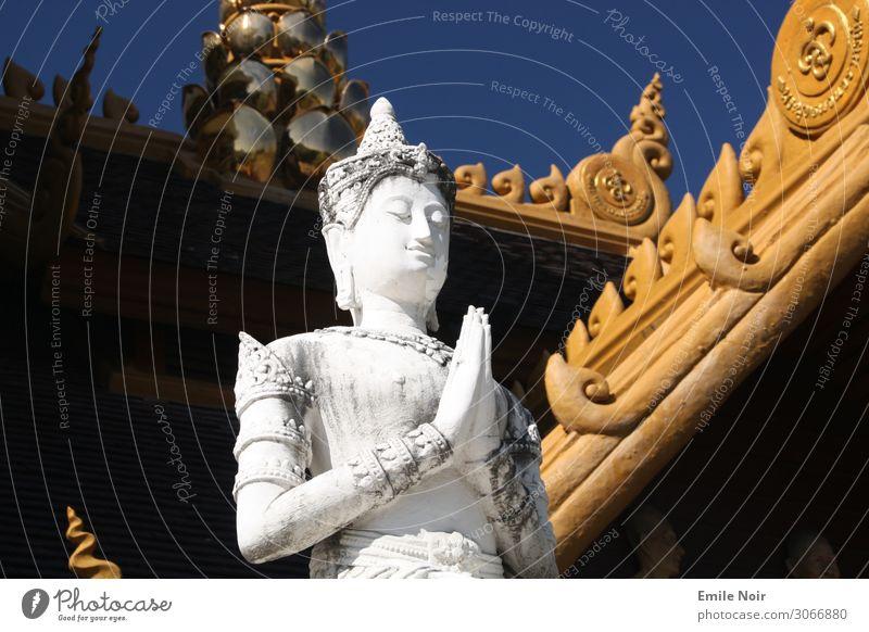 Weißer Buddha Kunst Skulptur Architektur Chiangmai Thailand Tempel Statue Ferien & Urlaub & Reisen Religion & Glaube Farbfoto Außenaufnahme