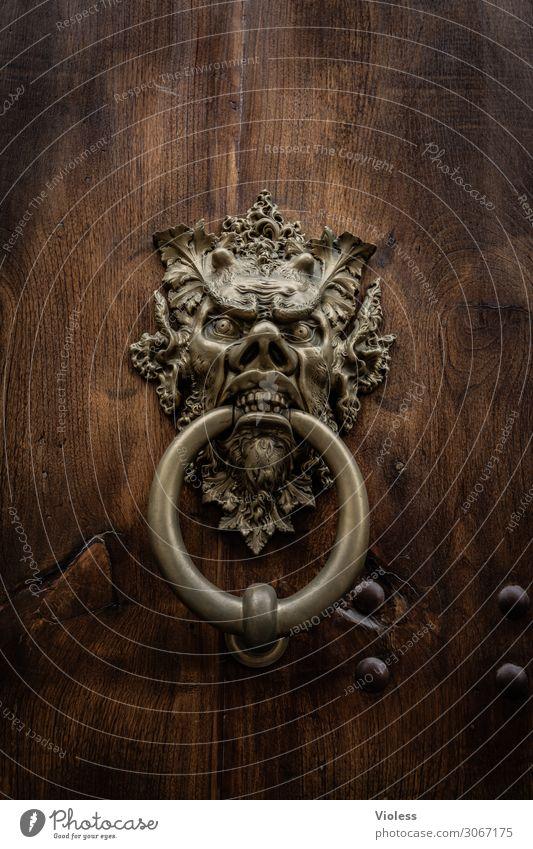 ....herein Tür Aggression bedrohlich Türklopfer Kreis Gesicht Teufel Beschläge Mittelalter Tor Detailaufnahme