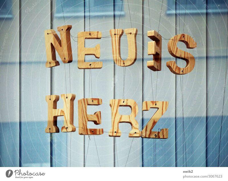An seidenen Fäden Kunst Kunstwerk Schaufenster Glasscheibe Jalousie Holz Schriftzeichen Bewegung hängen frei neu Neugier Holzmaserung Großbuchstabe Straßenkunst