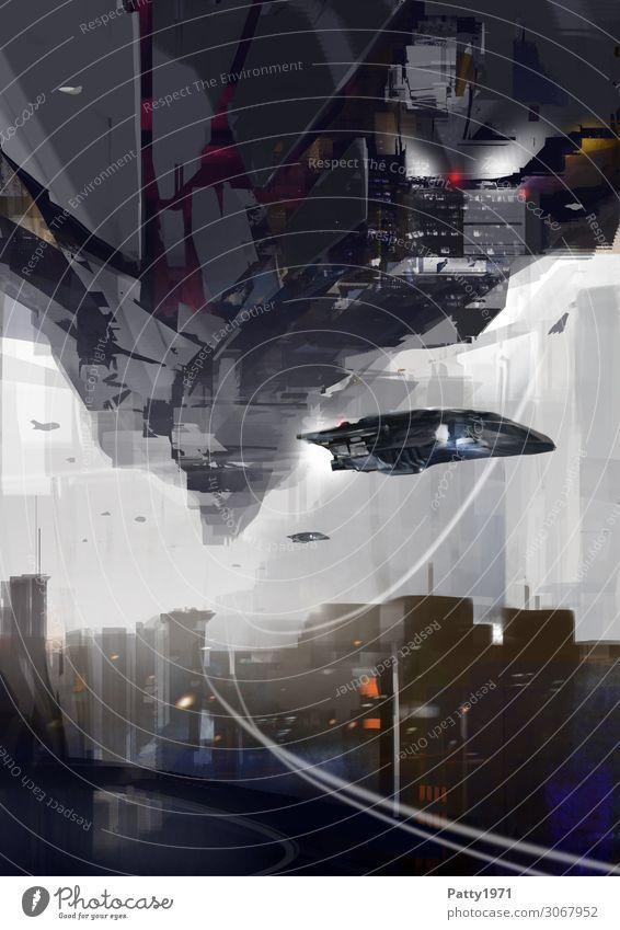 Upside Down Fortschritt Zukunft High-Tech Luftverkehr Raumfahrt Skyline Menschenleer Haus Hochhaus Fluggerät UFO fliegen dunkel Stadt Bewegung Endzeitstimmung