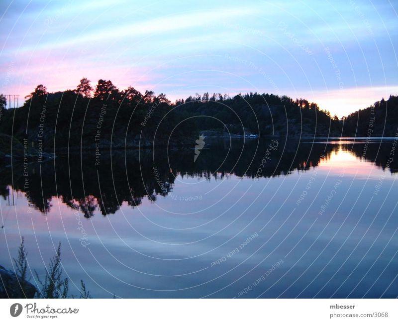 Mystische Dämmerung Wasser Himmel See Schifffahrt Schweden Abenddämmerung Skandinavien