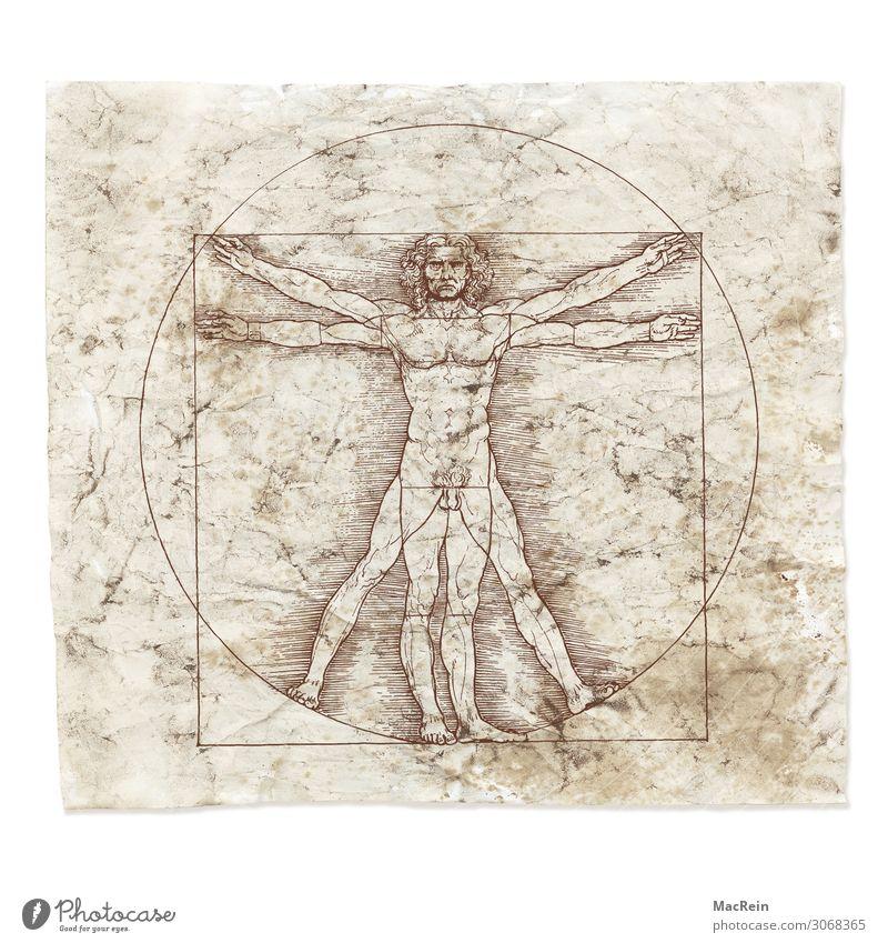 Leonardo da Vinci Wissenschaften Kunst Künstler Maler Zeichen Vergangenheit Konstruktion kreisen Papier Zeichnung Farbfoto Innenaufnahme Nahaufnahme