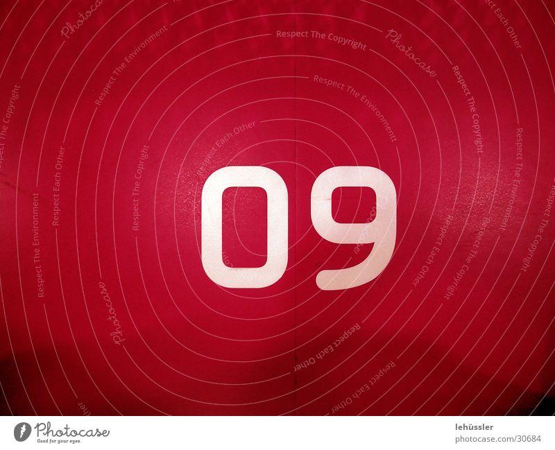 nummer 09 weiß rot Industrie Platz Bodenbelag Ziffern & Zahlen Druck