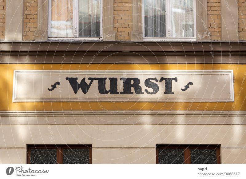WURST Wurstwaren Handwerk Halle (Saale) Stadt Fassade Schriftzeichen einzigartig Metzgerei Ernährung Fleisch Tradition Farbfoto Außenaufnahme Tag