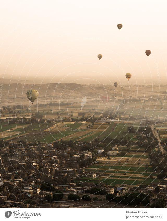 Hot air balloon ride for sunrise in Luxor (Egypt) Landschaft Luft Himmel Wolkenloser Himmel Sonnenaufgang Sonnenuntergang Schönes Wetter Feld Hügel Dorf Haus
